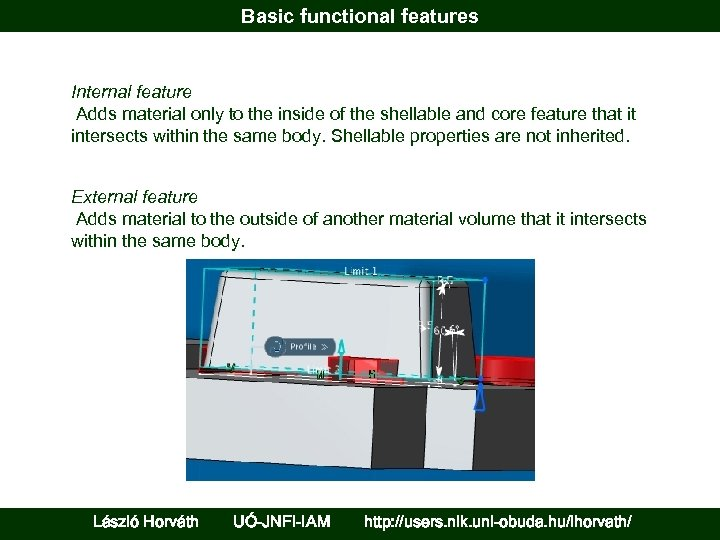 Basic functional features Internal feature Adds material only to the inside of the shellable