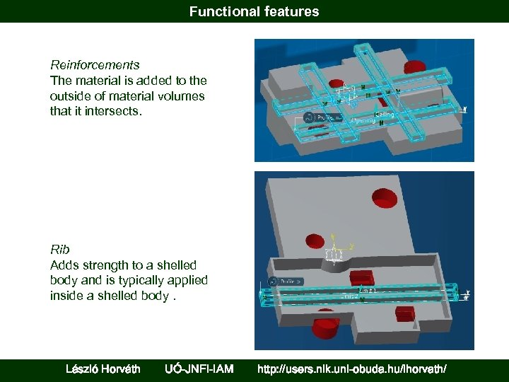 Functional features Reinforcements The material is added to the outside of material volumes that