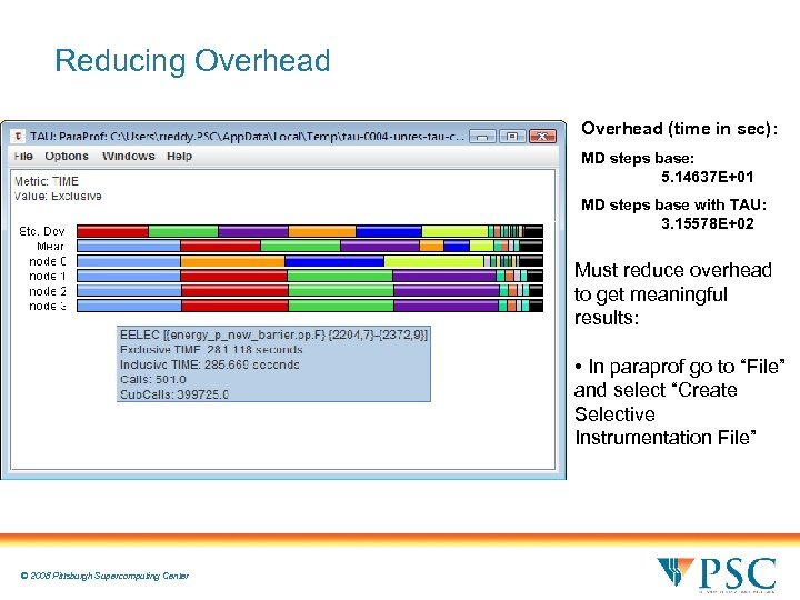 Reducing Overhead (time in sec): MD steps base: 5. 14637 E+01 MD steps base
