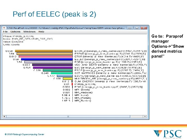 """Perf of EELEC (peak is 2) Go to: Paraprof manager Options->""""Show derived metrics panel"""""""