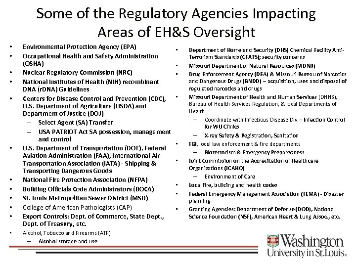 Some of the Regulatory Agencies Impacting Areas of EH&S Oversight • • • Environmental