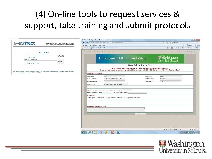 (4) On-line tools to request services & support, take training and submit protocols