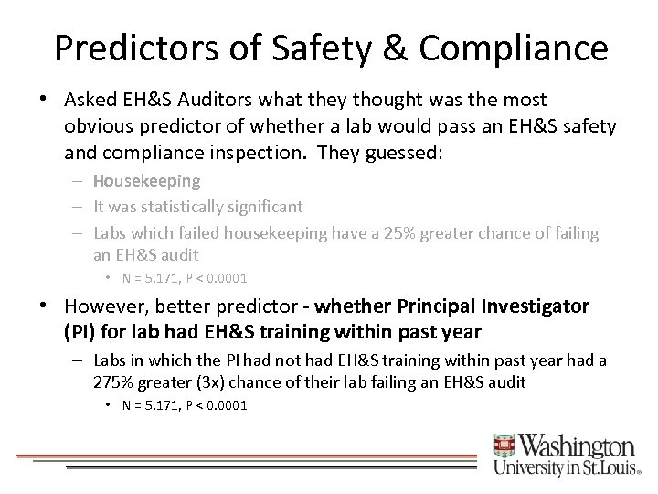 Predictors of Safety & Compliance • Asked EH&S Auditors what they thought was the