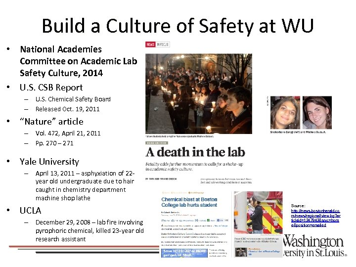 Build a Culture of Safety at WU • National Academies Committee on Academic Lab