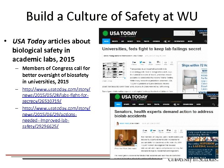 Build a Culture of Safety at WU • USA Today articles about biological safety