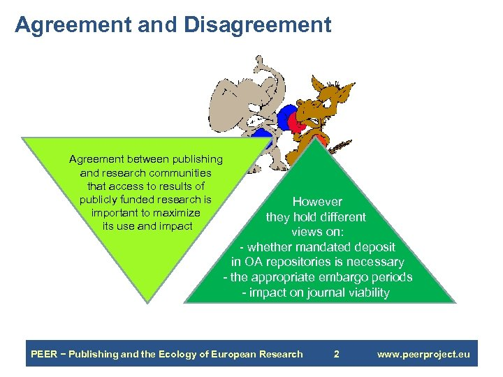 Agreement and Disagreement Agreement between publishing and research communities that access to results of