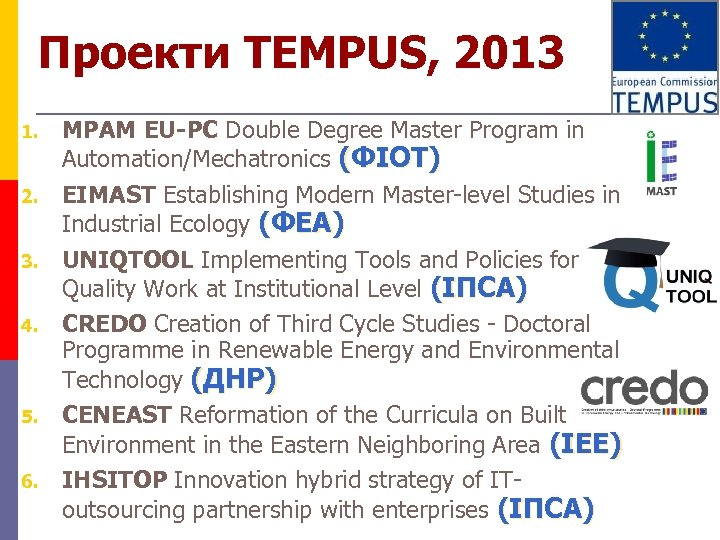 Проекти TEMPUS, 2013 1. 2. 3. 4. 5. 6. MPAM EU-PC Double Degree Master