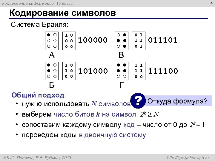 4 Кодирование информации, 10 класс Кодирование символов Система Брайля: 1 0 0 0 1