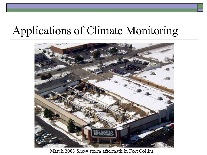 Applications of Climate Monitoring March 2003 Snow storm aftermath in Fort Collins