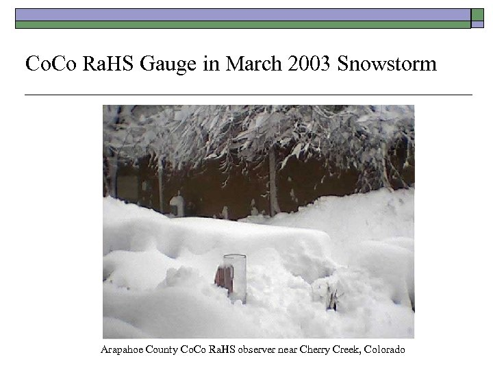 Co. Co Ra. HS Gauge in March 2003 Snowstorm Arapahoe County Co. Co Ra.
