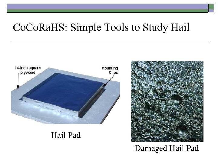 Co. Ra. HS: Simple Tools to Study Hail Pad Damaged Hail Pad