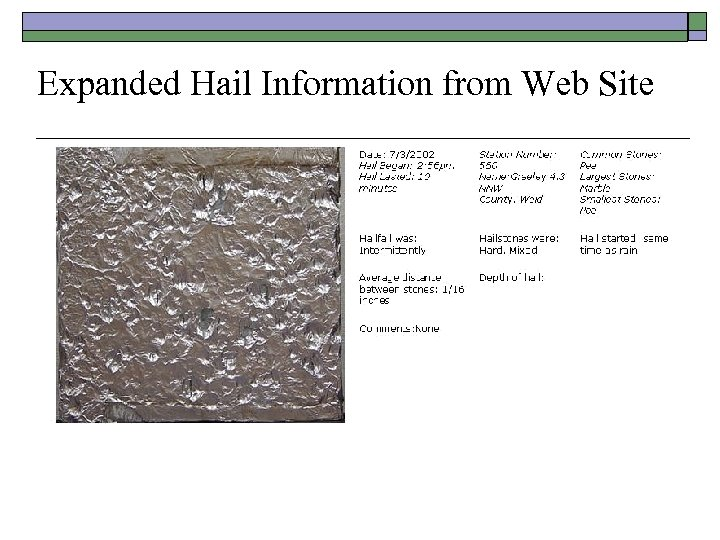Expanded Hail Information from Web Site