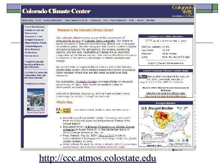http: //ccc. atmos. colostate. edu