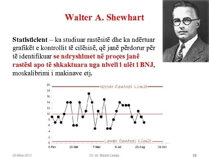 Walter A. Shewhart Statisticient – ka studiuar rastësitë dhe ka ndërtuar grafikët e kontrollit