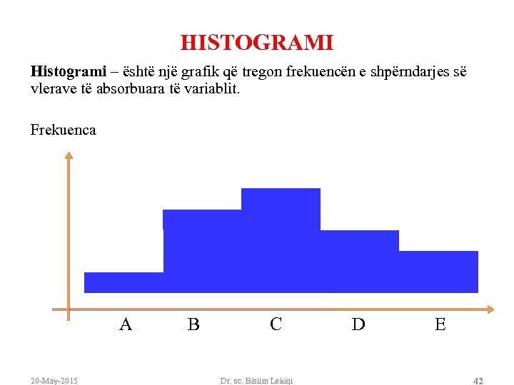 HISTOGRAMI Histogrami – është një grafik që tregon frekuencën e shpërndarjes së vlerave të