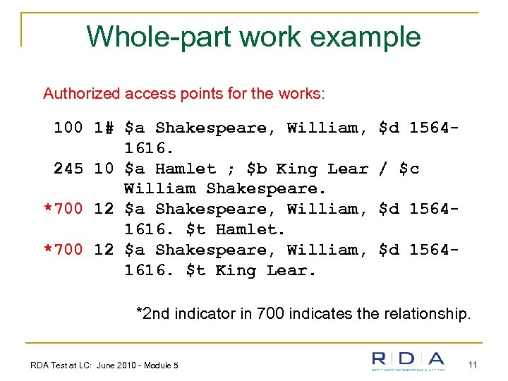 Whole-part work example Authorized access points for the works: 100 1# $a Shakespeare, William,