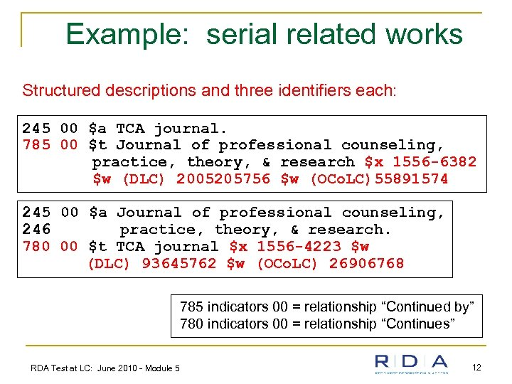 Example: serial related works Structured descriptions and three identifiers each: 245 00 $a TCA