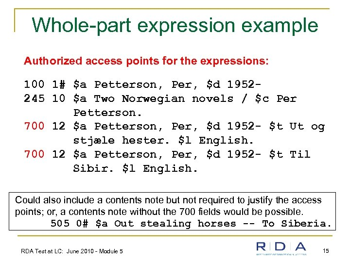 Whole-part expression example Authorized access points for the expressions: 100 1# $a Petterson, Per,