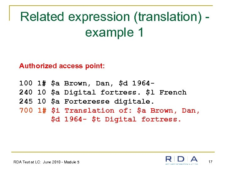Related expression (translation) example 1 Authorized access point: 100 245 700 1# 10 10