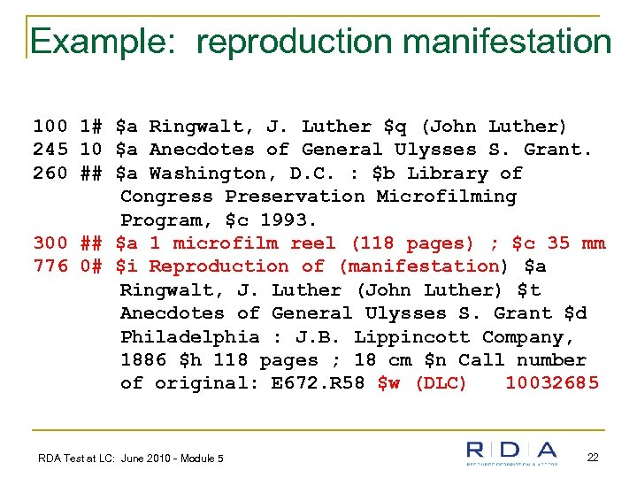 Example: reproduction manifestation 100 1# $a Ringwalt, J. Luther $q (John Luther) 245 10