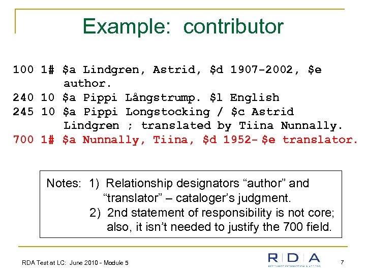 Example: contributor 100 1# $a Lindgren, Astrid, $d 1907 -2002, $e author. 240 10