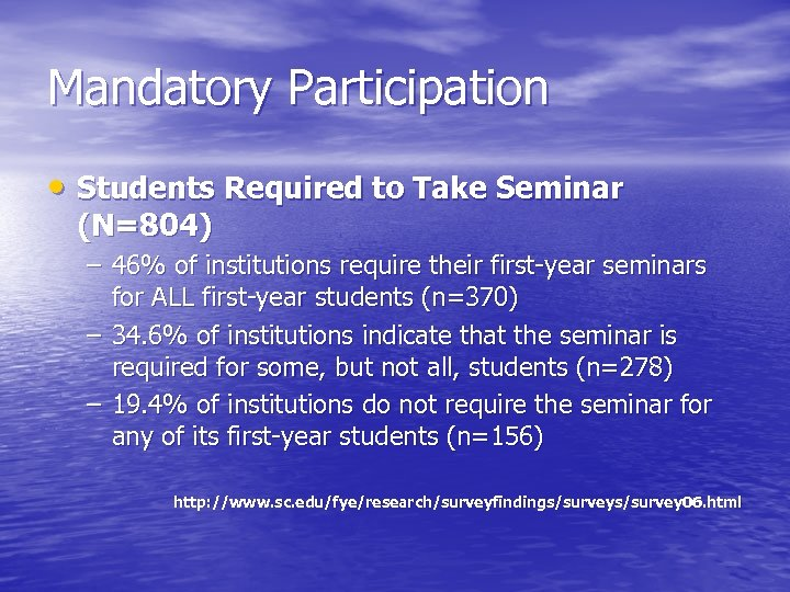 Mandatory Participation • Students Required to Take Seminar (N=804) – 46% of institutions require