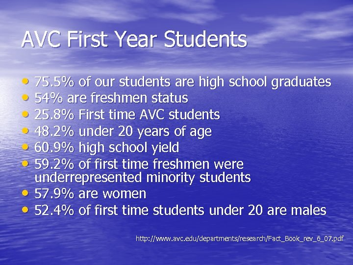 AVC First Year Students • 75. 5% of our students are high school graduates