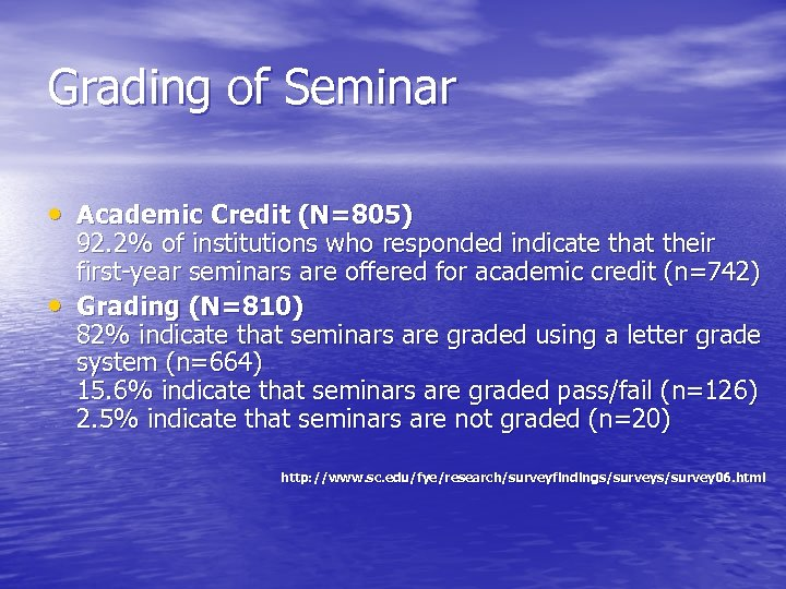 Grading of Seminar • Academic Credit (N=805) • 92. 2% of institutions who responded