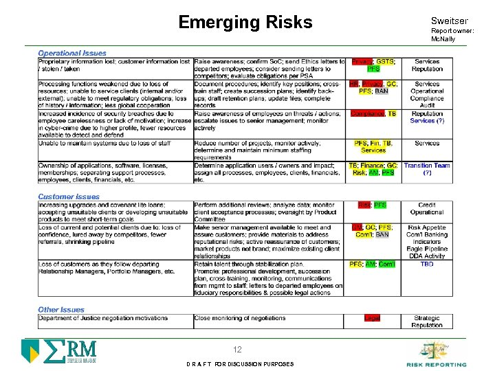 Emerging Risks 12 D R A F T FOR DISCUSSION PURPOSES Sweitser Report owner: