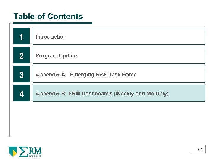 Table of Contents 1 Introduction 2 Program Update 3 Appendix A: Emerging Risk Task