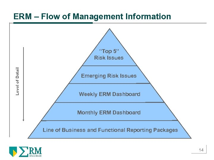 """ERM – Flow of Management Information Level of Detail """"Top 5"""" Risk Issues Emerging"""