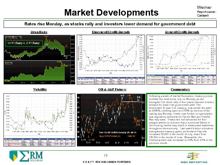 Weimer Market Developments Report owner: Caldwell Rates rise Monday, as stocks rally and investors