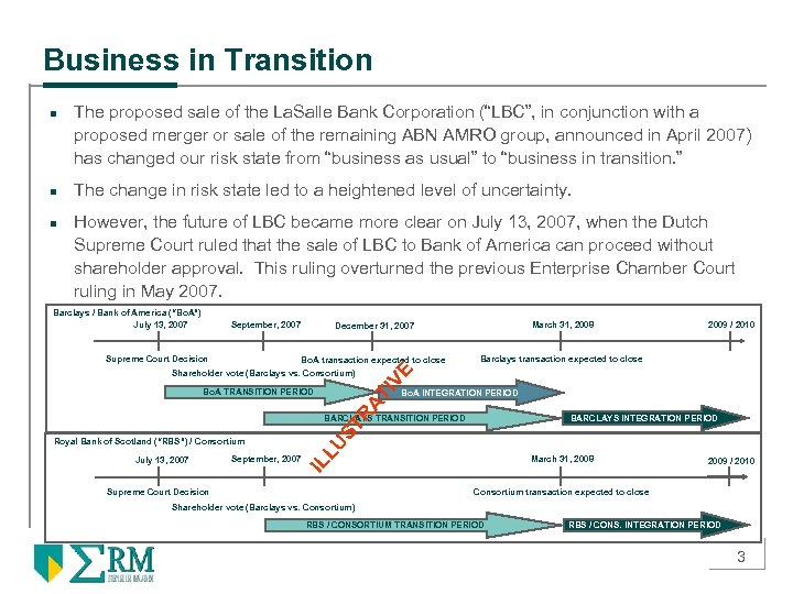 """Business in Transition n The proposed sale of the La. Salle Bank Corporation (""""LBC"""","""