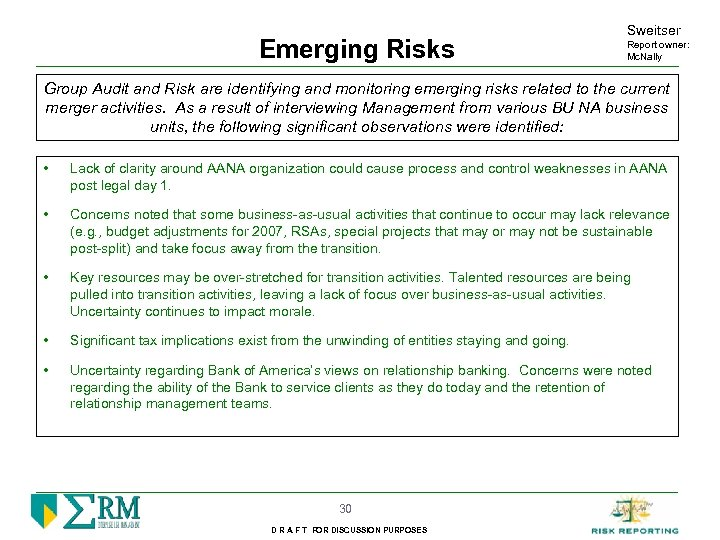 Emerging Risks Sweitser Report owner: Mc. Nally Group Audit and Risk are identifying and