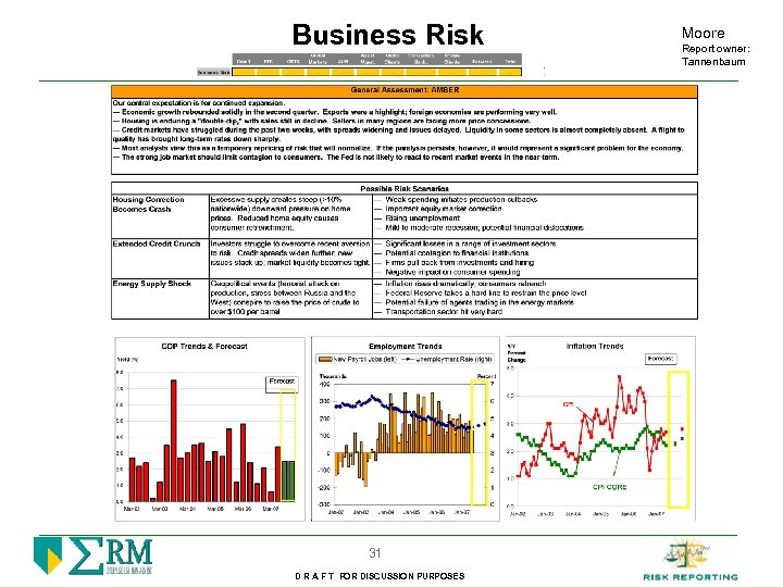 Business Risk 31 D R A F T FOR DISCUSSION PURPOSES Moore Report owner: