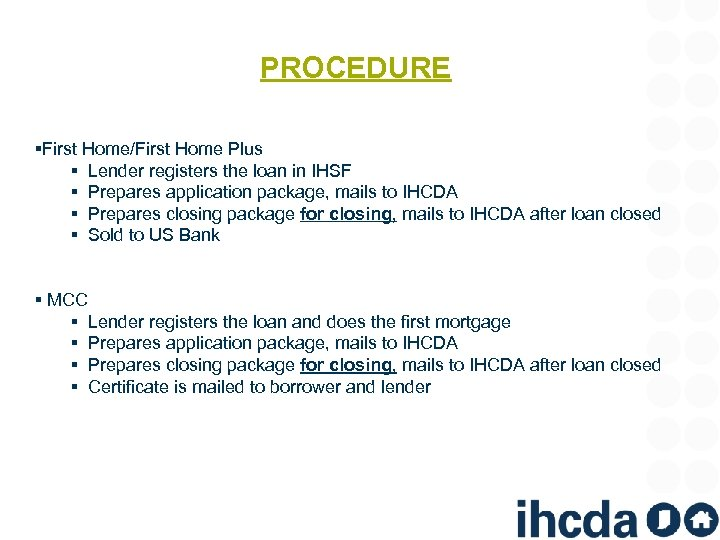 PROCEDURE §First Home/First Home Plus § Lender registers the loan in IHSF § Prepares