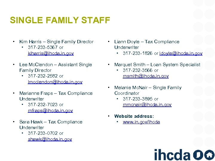 SINGLE FAMILY STAFF • Kim Harris – Single Family Director • 317 -233 -5367