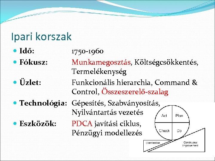 Ipari korszak Idő: Fókusz: 1750 -1960 Munkamegosztás, Költségcsökkentés, Termelékenység Üzlet: Funkcionális hierarchia, Command &