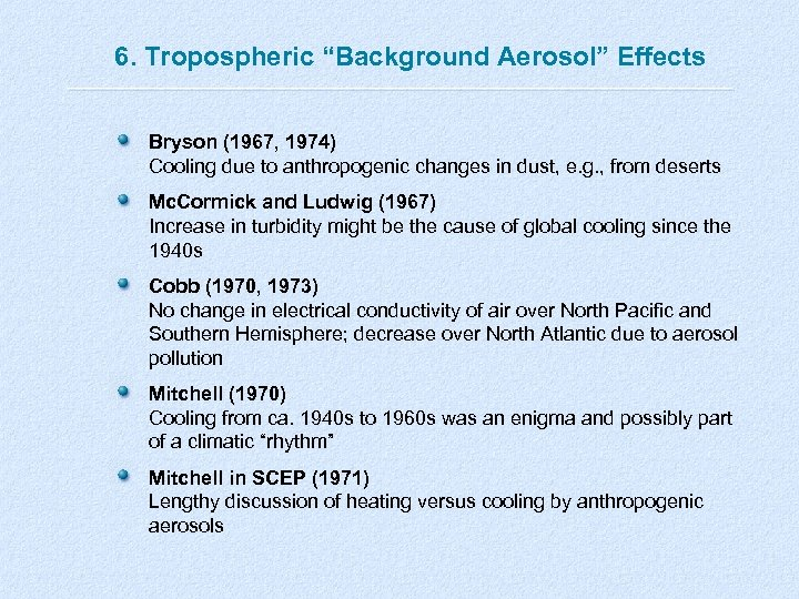 "6. Tropospheric ""Background Aerosol"" Effects Bryson (1967, 1974) Cooling due to anthropogenic changes in"