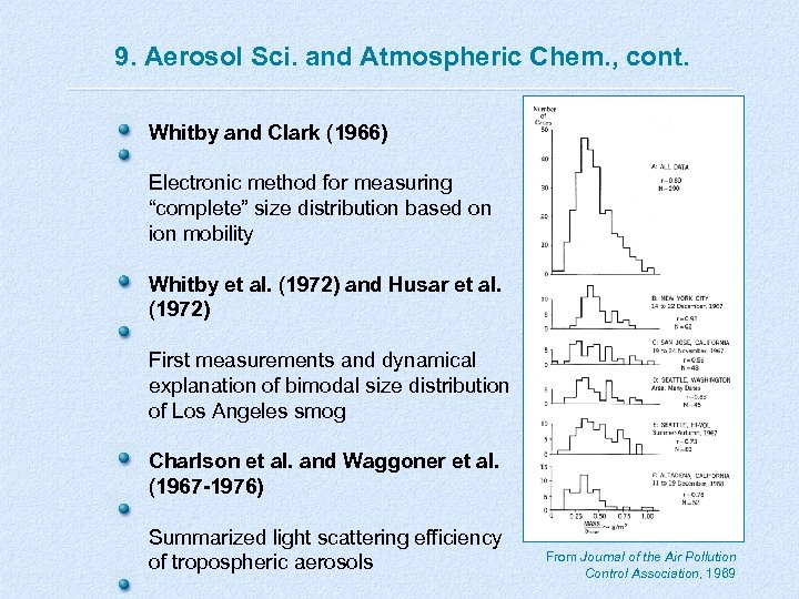 9. Aerosol Sci. and Atmospheric Chem. , cont. Whitby and Clark (1966) Electronic method