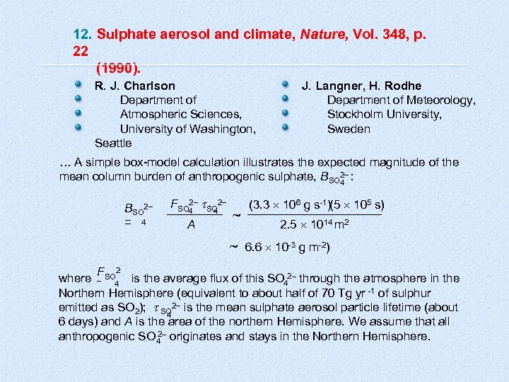 12. Sulphate aerosol and climate, Nature, Vol. 348, p. 22 (1990). R. J. Charlson
