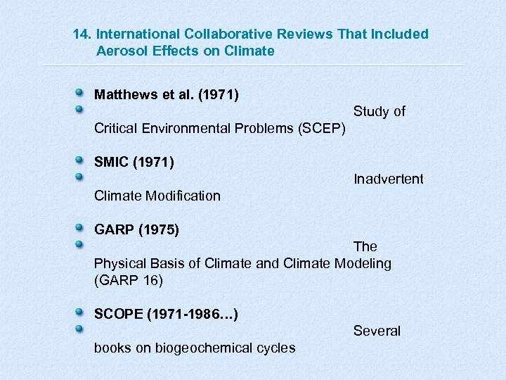 14. International Collaborative Reviews That Included Aerosol Effects on Climate Matthews et al. (1971)