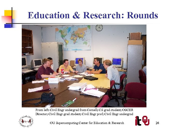 Education & Research: Rounds From left: Civil Engr undergrad from Cornell; CS grad student;