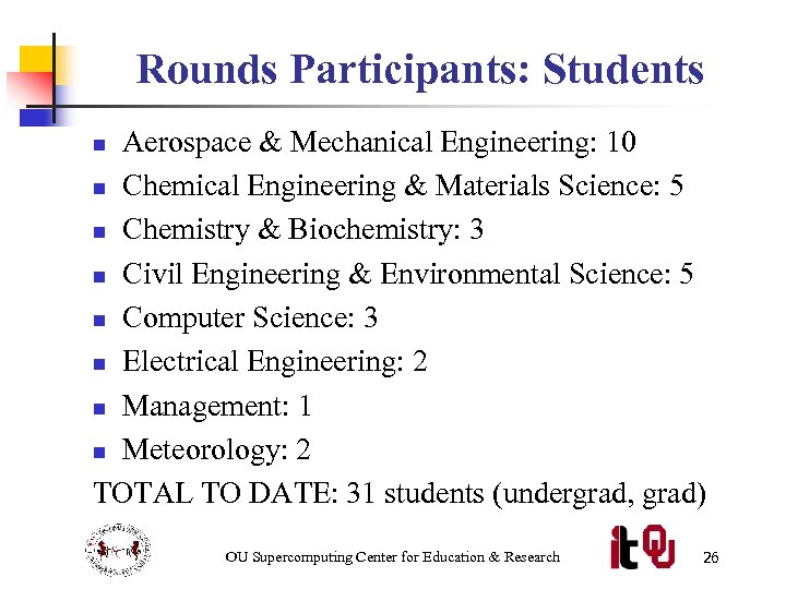 Rounds Participants: Students Aerospace & Mechanical Engineering: 10 n Chemical Engineering & Materials Science: