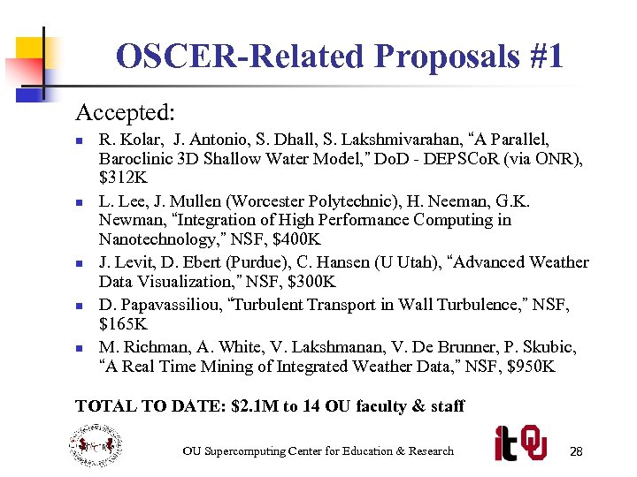 OSCER-Related Proposals #1 Accepted: n n n R. Kolar, J. Antonio, S. Dhall, S.