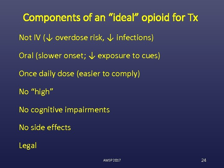 """Components of an """"ideal"""" opioid for Tx Not IV (↓ overdose risk, ↓ infections)"""