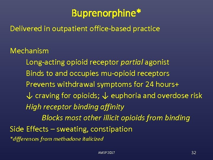 Buprenorphine* Delivered in outpatient office-based practice Mechanism Long-acting opioid receptor partial agonist Binds to