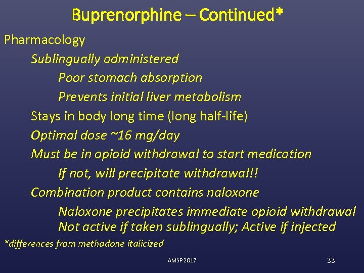 Buprenorphine – Continued* Pharmacology Sublingually administered Poor stomach absorption Prevents initial liver metabolism Stays