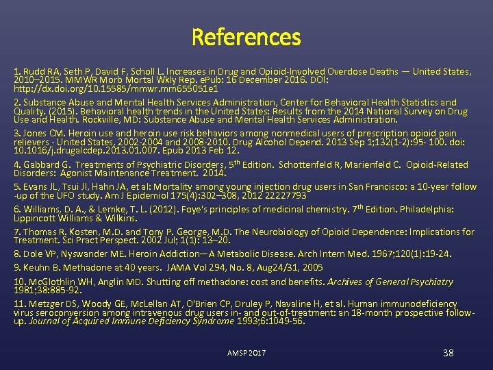 References 1. Rudd RA, Seth P, David F, Scholl L. Increases in Drug and