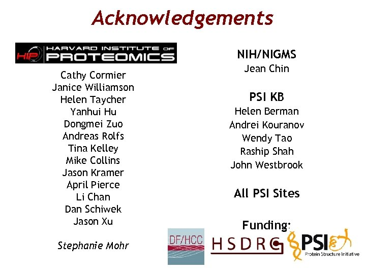 Acknowledgements NIH/NIGMS Cathy Cormier Janice Williamson Helen Taycher Yanhui Hu Dongmei Zuo Andreas Rolfs